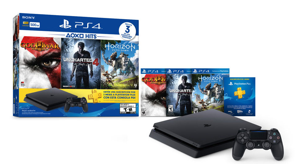 pack ps4 500gb god of war remastred horizon zero dawn uncharted 4 psn 3 mois achat. Black Bedroom Furniture Sets. Home Design Ideas