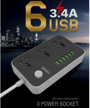 ldnio-sc3604-power-strip-with-3-ac-sockets-6-usb-ports-black-eu-plug