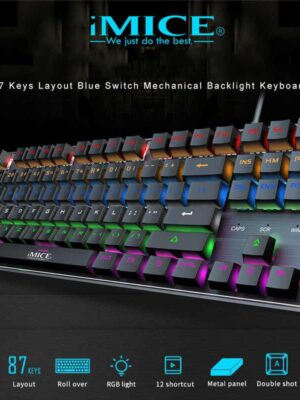 iMICE Clavier gamer MK-X60 Mécanique Professionnel Avec Rétroéclairage Variable avec Bleu Stwiches