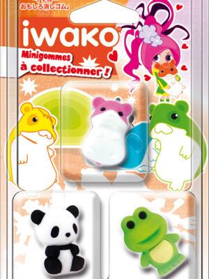 IWAKO 3 Mini gommes Animaux Kawai