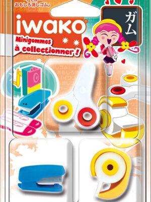 IWAKO 3 Mini gommes Fournitures scolaires